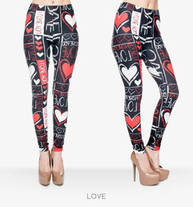 Fire Flame/Piano/Queen Of Hearts Printed Leggings - DiyosWorld
