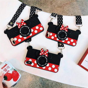 Fitted Cases Cute Cartoon 3D Silicone Case with Lanyard - DiyosWorld