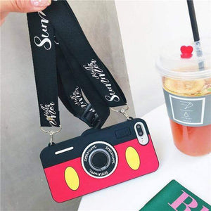 Fitted Cases Cute Cartoon 3D Silicone Case with Lanyard Pink / for iphone 6 6s / Case & Strap - DiyosWorld