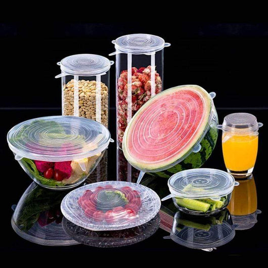 Food Covers STRETCH & SEAL Silicone Lids 6pcs Clear - DiyosWorld