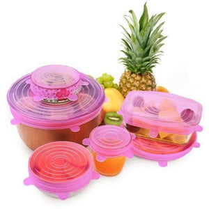 Food Covers STRETCH & SEAL Silicone Lids 6pcs Pink - DiyosWorld