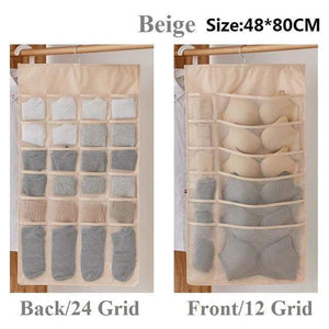 Hanging Organizers Wardrobe Storage Foldable Hanging Organizer Beige 36 grid 1Piece - DiyosWorld