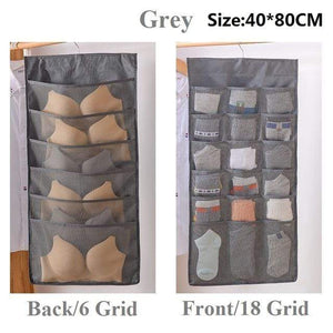 Hanging Organizers Wardrobe Storage Foldable Hanging Organizer Grey 24 grid 1Piece - DiyosWorld