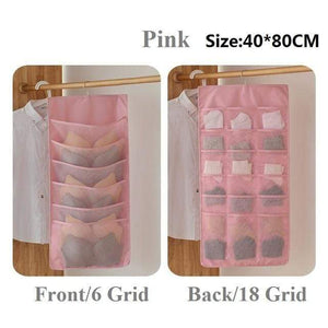 Hanging Organizers Wardrobe Storage Foldable Hanging Organizer Pink 24 grid 1Piece - DiyosWorld