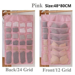 Hanging Organizers Wardrobe Storage Foldable Hanging Organizer Pink 36 grid 1Piece - DiyosWorld