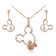Load image into Gallery viewer, Jewelry Sets Platinum Plated Necklace & Drop Earrings Set Rose Gold Plated / Necklace & Earrings Set - DiyosWorld