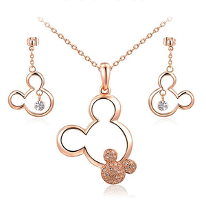 Jewelry Sets Platinum Plated Necklace & Drop Earrings Set Rose Gold Plated / Necklace & Earrings Set - DiyosWorld