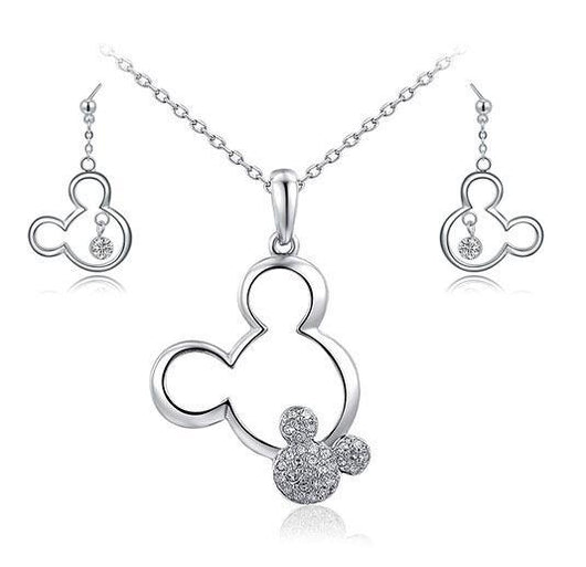 Jewelry Sets Platinum Plated Necklace & Drop Earrings Set Platinum Plated / Necklace & Earrings Set - DiyosWorld