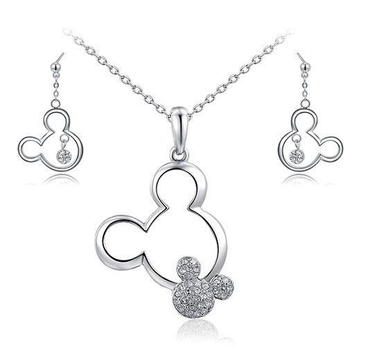Platinum Plated Necklace & Drop Earrings Set
