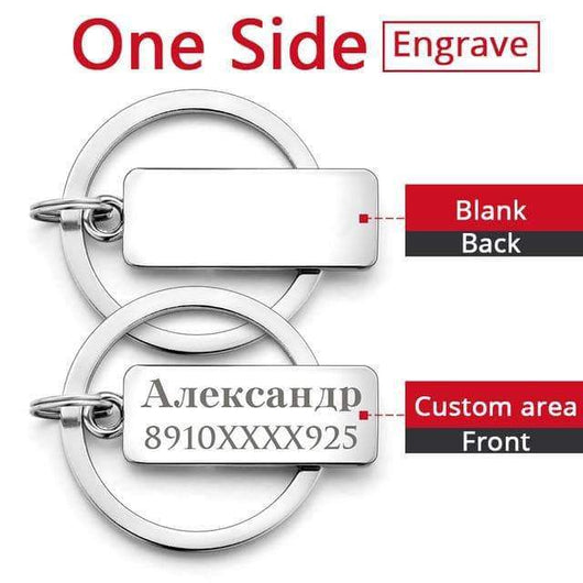 Key Chains Custom Engraved Antilost Keychain One Side Engrave - DiyosWorld