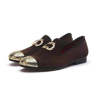 Metal Top Velvet Loafers Shoes