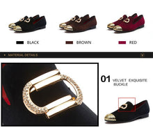 Load image into Gallery viewer, Metal Top Velvet Loafers Shoes