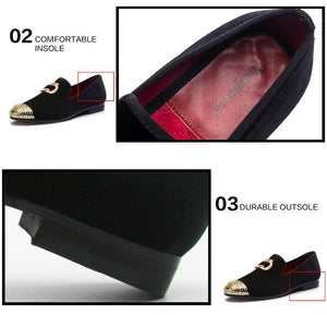 Men's Casual Shoes Metal Top Velvet Loafers Shoes - DiyosWorld