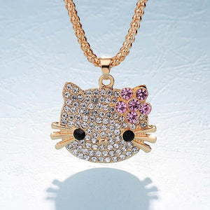 Cute Rhinestone Studded Long Pendant Necklace