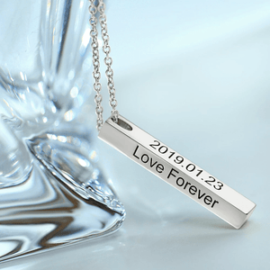 Diyos Moments™ Personalized Bar Necklace [4 Sided Engraving]