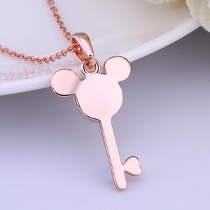 Key Shape Rose Gold Plated Chain Necklace