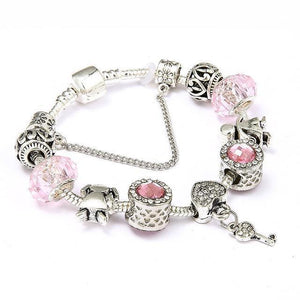 Vintage Heart and Key Charm Bracelet Pink / 18cm - DiyosWorld
