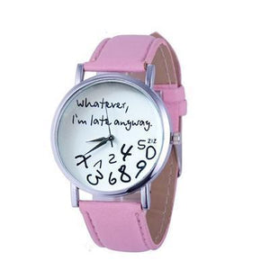 Wathever, I'm Late Anyway Letter Print Watch Pink - DiyosWorld