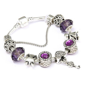 Vintage Heart and Key Charm Bracelet Purple / 18cm - DiyosWorld