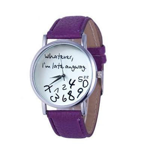 Wathever, I'm Late Anyway Letter Print Watch Purple - DiyosWorld