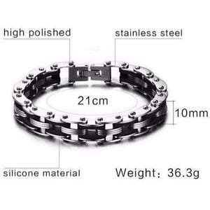 Rainbow Stainless Steel Clasp Bike Chain Bracelet
