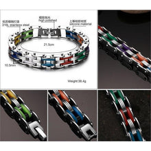 Load image into Gallery viewer, Rainbow Stainless Steel Clasp Bike Chain Bracelet