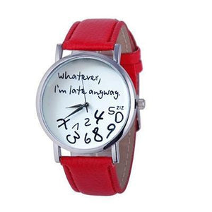 Wathever, I'm Late Anyway Letter Print Watch Red - DiyosWorld
