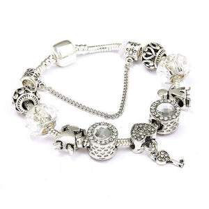 Vintage Heart and Key Charm Bracelet Rhodium Plated / 18cm - DiyosWorld