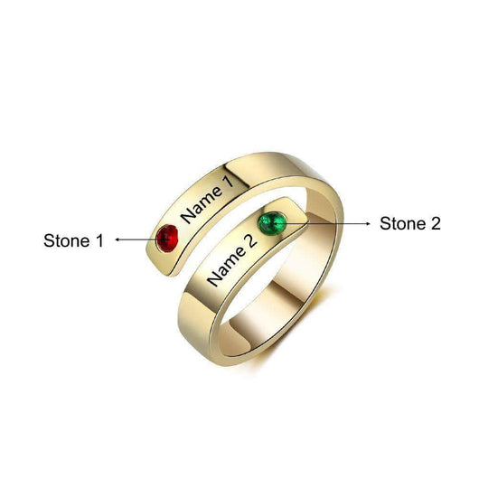 Rings DIYOS Moments™ Personalised Name & Birthstone Ring Gold - DiyosWorld