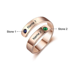 Rings DIYOS Moments™ Personalised Name & Birthstone Ring Rose Gold - DiyosWorld