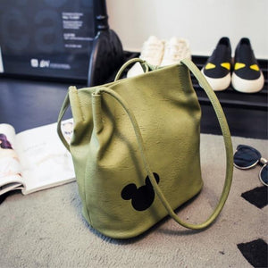 Shoulder Bags Leather Bucket Bag Army Green - DiyosWorld