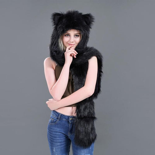 Animal Printed Faux Fur 3 in 1 Scarf