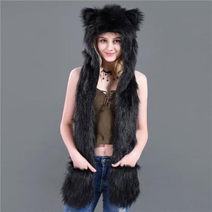 Skullies & Beanies Animal Printed Faux Fur 3 in 1 Scarf Black - DiyosWorld