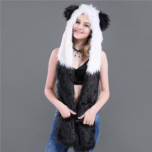 Skullies & Beanies Animal Printed Faux Fur 3 in 1 Scarf Panda - DiyosWorld
