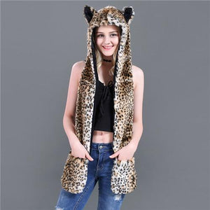 Skullies & Beanies Animal Printed Faux Fur 3 in 1 Scarf Small Leopard - DiyosWorld