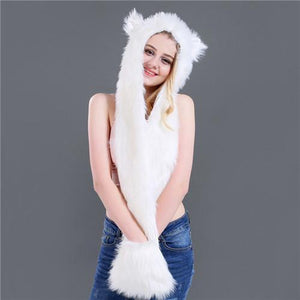 Skullies & Beanies Animal Printed Faux Fur 3 in 1 Scarf White - DiyosWorld