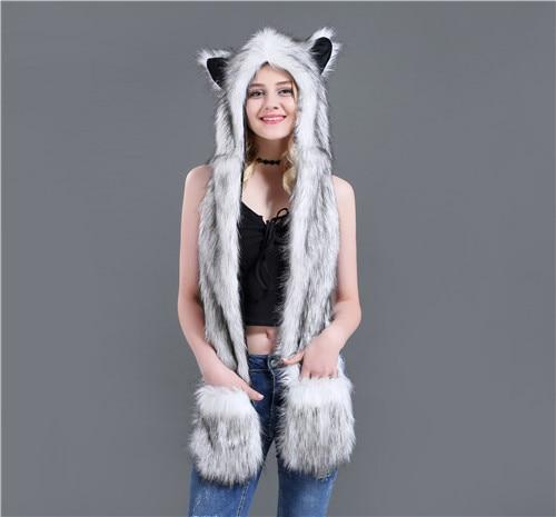 Skullies & Beanies Animal Printed Faux Fur 3 in 1 Scarf White & Black - DiyosWorld
