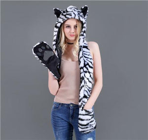 Skullies & Beanies Animal Printed Faux Fur 3 in 1 Scarf White Tiger - DiyosWorld