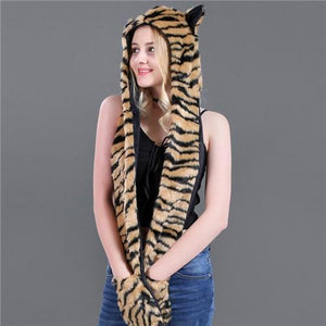 Skullies & Beanies Animal Printed Faux Fur 3 in 1 Scarf Yellow Tiger - DiyosWorld