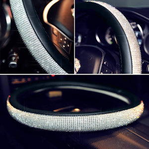 Ice Silk Rhinestone Crystal Steering Wheel Cover