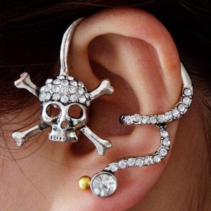 Crystal Skull Ear Cuff Earrings
