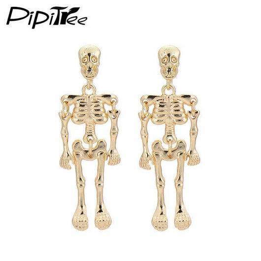 Stud Earrings Antique Vintage Punk Skeleton Skull Earrings Gold Plated - DiyosWorld