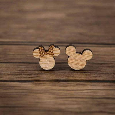 Cute Wooden Cartoon Stud Earrings