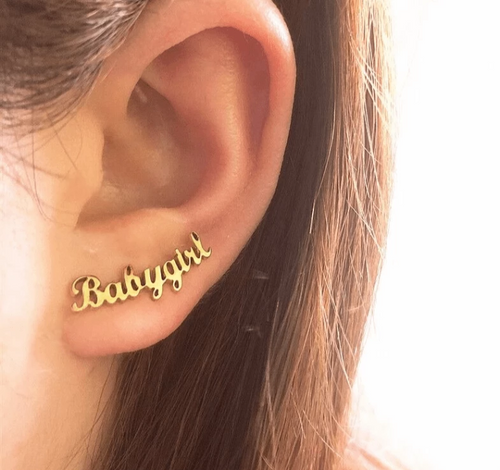 Stud Earrings Pair of Custom Name Earrings 18K Gold - DiyosWorld