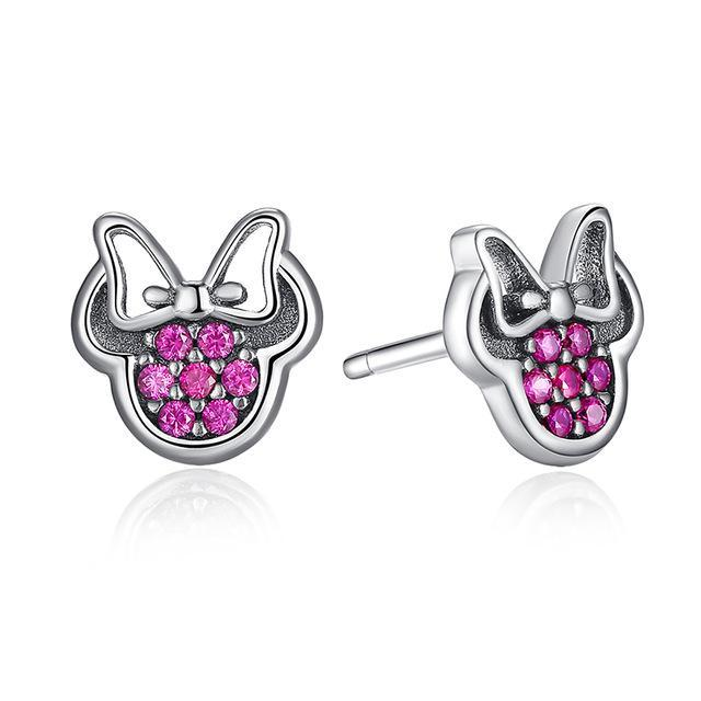 Stud Earrings REAL 925 Sterling Silver Cartoon Stud Earrings Pink - DiyosWorld