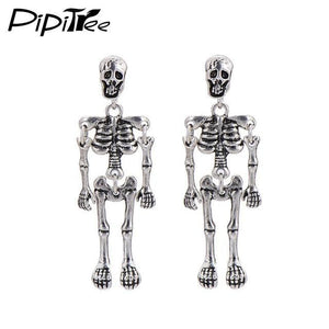 Stud Earrings Antique Vintage Punk Skeleton Skull Earrings Silver Plated - DiyosWorld
