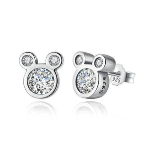 Stud Earrings REAL 925 Sterling Silver Cartoon Stud Earrings White - DiyosWorld
