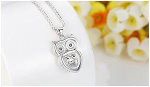 Vintage Owl Pendant Necklace with AAA Austrian Zircon White Gold Color - DiyosWorld