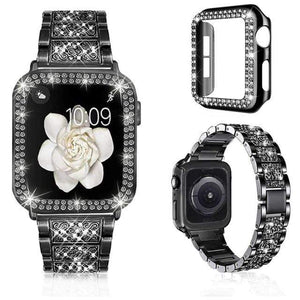 Watchbands Luxury iWatch Case And Strap Set- With Bling Diamond Luxury black / 38mm - DiyosWorld