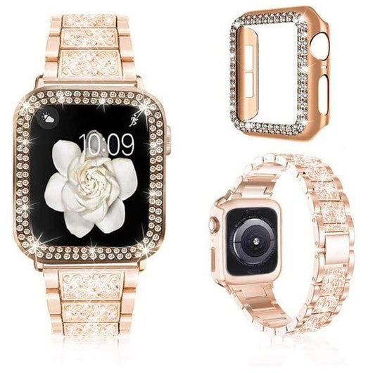 Watchbands Luxury iWatch Case And Strap Set- With Bling Diamond Rose gold / 38mm - DiyosWorld